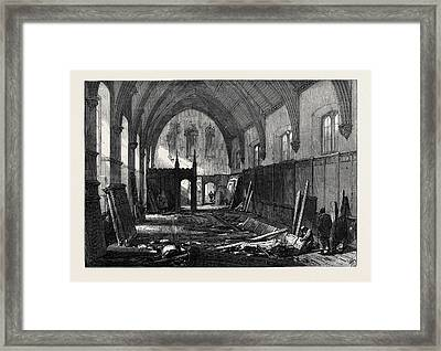 Demolition Of The Old Dining Hall Of The Inner Temple 1869 Framed Print by English School