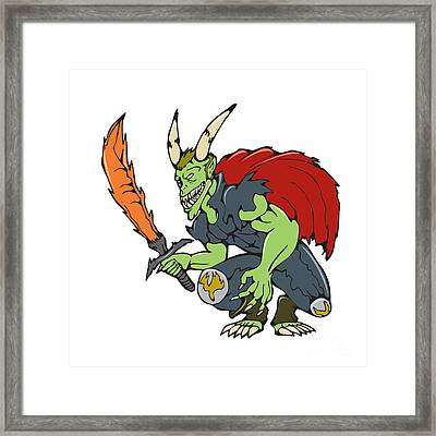 Demon Wield Fiery Sword Cartoon Framed Print by Aloysius Patrimonio