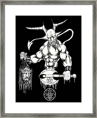 Demons Savior Bloody Redux Framed Print by Alaric Barca