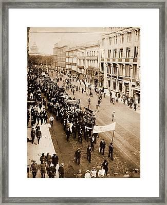 Demonstration On The Nevski Prospect, Petrograd Framed Print by Litz Collection