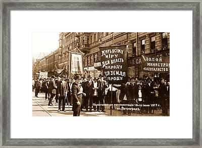 Demonstration On The Nevsky Prospect, At Petrograd Framed Print by Litz Collection