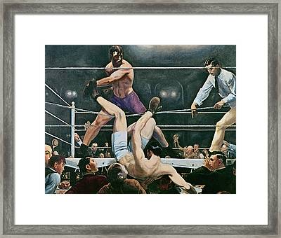 Dempsey V Firpo In New York City Framed Print by George Wesley Bellows