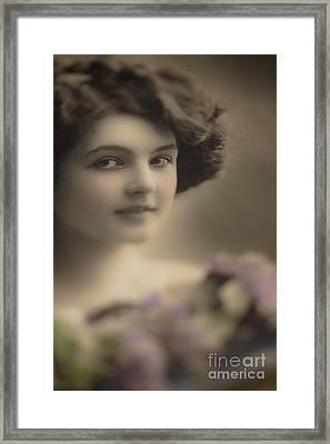 Demure Edwardian Beauty Framed Print