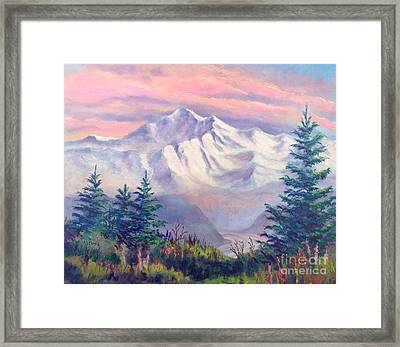 Denali Alpenglow Framed Print by Teresa Ascone
