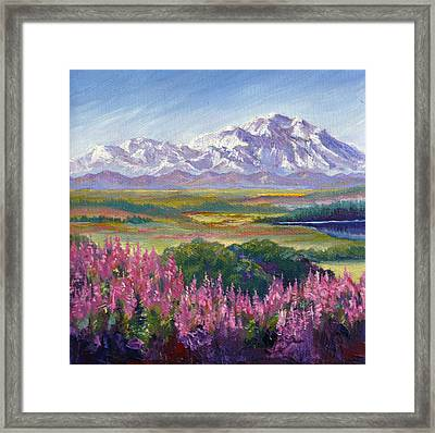 Denali And Fireweed Alaska Framed Print by Karen Mattson