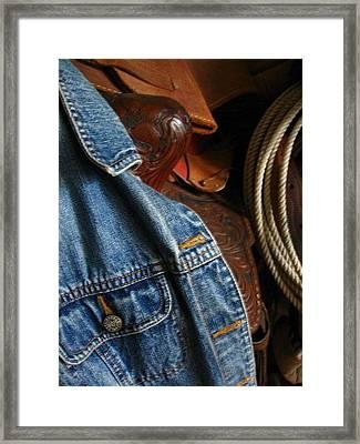 Denim And Leather Framed Print