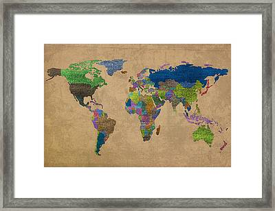 Denim Map Of The World Jeans Texture On Worn Canvas Paper Framed Print