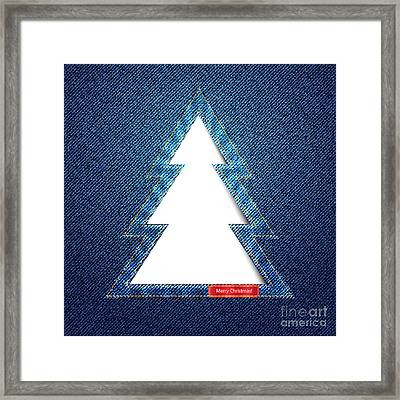 Denim Tree Cutout Framed Print by Jane Rix