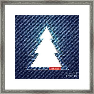 Denim Tree Cutout Framed Print