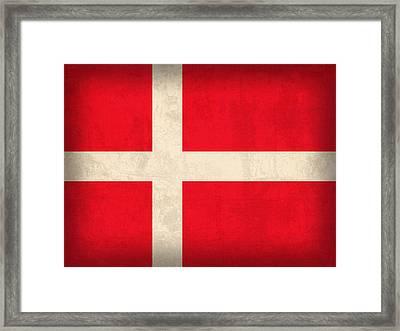 Denmark Flag Vintage Distressed Finish Framed Print by Design Turnpike