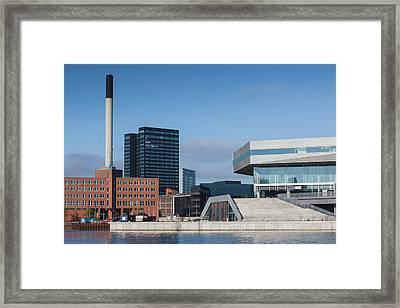 Denmark, Jutland, Aarhus, Waterfront Framed Print