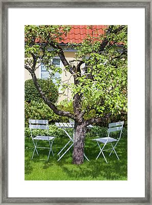 Denmark, Jutland, Skagen, Garden Chairs Framed Print