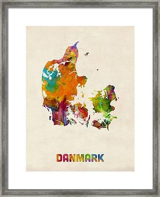 Denmark Watercolor Map Framed Print