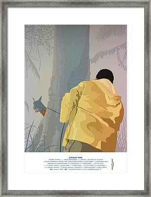 Dennis And The Dilophosaurus - Jurassic Park Poster Framed Print by Peter Cassidy