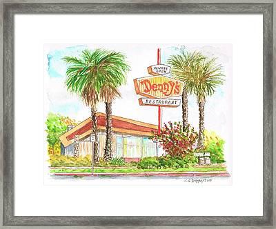 Denny's Coffee Shop In Lankershim Blvd, North Hollywood, California Framed Print by Carlos G Groppa