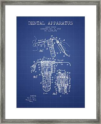Dental Apparatus Patent Drawing From 1965 - Blueprint Framed Print