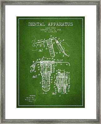 Dental Apparatus Patent Drawing From 1965 - Green Framed Print by Aged Pixel