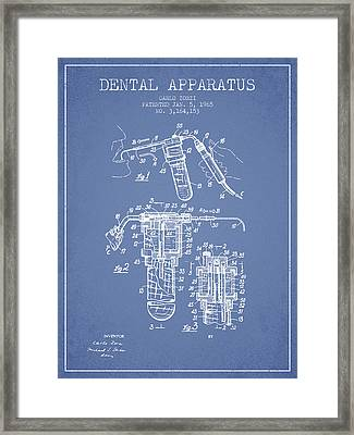 Dental Apparatus Patent Drawing From 1965 - Light Blue Framed Print by Aged Pixel