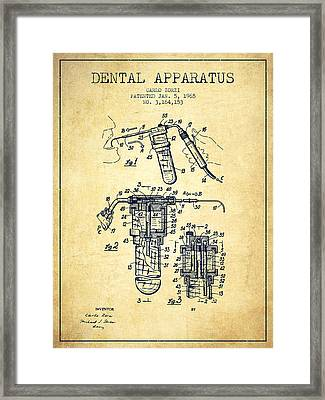 Dental Apparatus Patent Drawing From 1965 - Vintage Framed Print by Aged Pixel