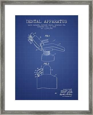 Dental Apparatus Patent From 1965 - Blueprint Framed Print