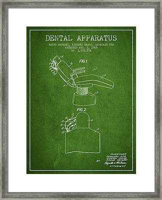 Dental Apparatus Patent From 1965 - Green Framed Print