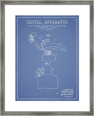 Dental Apparatus Patent From 1965 - Light Blue Framed Print