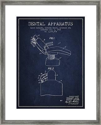 Dental Apparatus Patent From 1965 - Navy Blue Framed Print