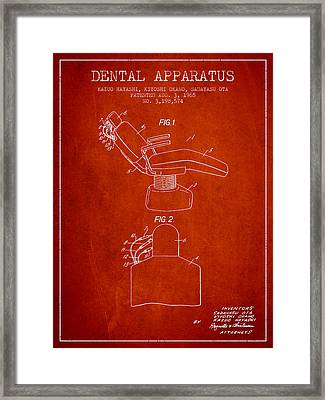Dental Apparatus Patent From 1965 - Red Framed Print