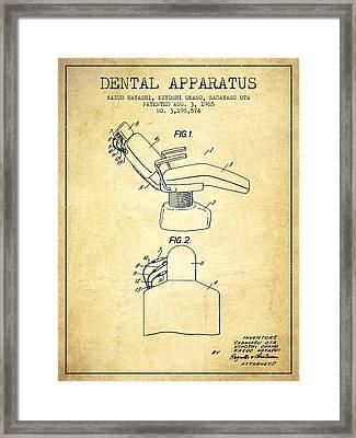Dental Apparatus Patent From 1965 - Vintage Framed Print