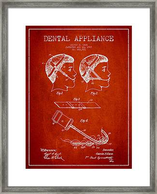 Dental Appliance Patent From 1907 - Red Framed Print