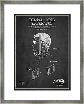Dental Bite Apparatus Patent From 1932 - Dark Framed Print