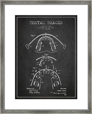 Dental Braces Patent From 1907 - Dark Framed Print