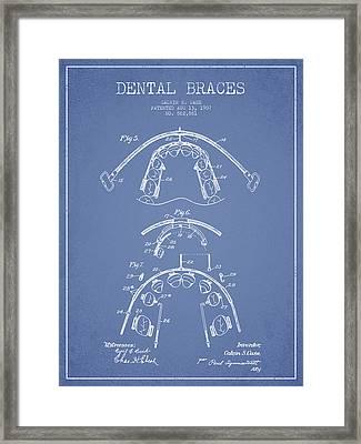 Dental Braces Patent From 1907 - Light Blue Framed Print