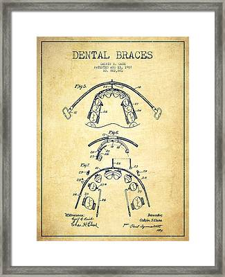 Dental Braces Patent From 1907 - Vintage Framed Print