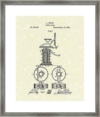 Dental Chair 1888 Patent Art Framed Print by Prior Art Design