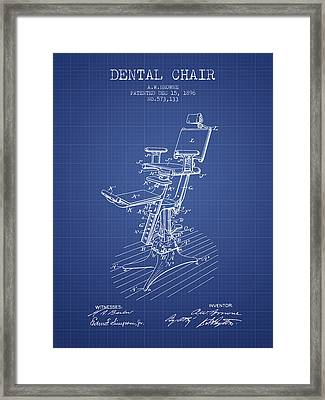 Dental Chair Patent Drawing From 1896 - Blueprint Framed Print