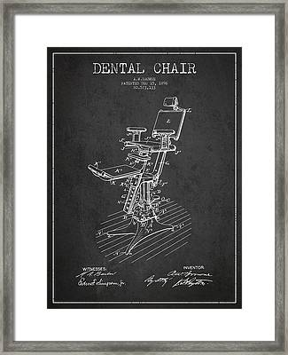 Dental Chair Patent Drawing From 1896 - Dark Framed Print