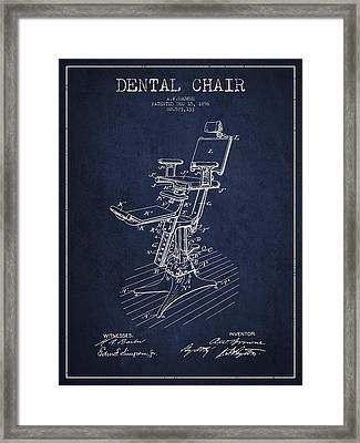 Dental Chair Patent Drawing From 1896 - Navy Blue Framed Print
