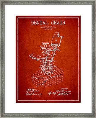 Dental Chair Patent Drawing From 1896 - Red Framed Print
