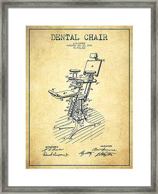 Dental Chair Patent Drawing From 1896 - Vintage Framed Print