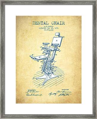 Dental Chair Patent Drawing From 1896 - Vintage Paper Framed Print by Aged Pixel