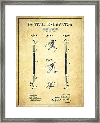 Dental Excavator Patent Drawing From 1896 - Vintage Framed Print by Aged Pixel