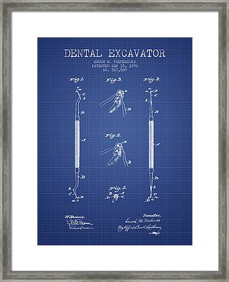 Dental Excavator Patent From 1896 - Blueprint Framed Print by Aged Pixel