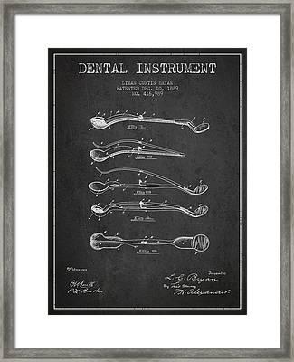 Dental Instrument Patent From 1889 - Dark Framed Print