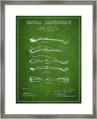 Dental Instrument Patent From 1889 - Green Framed Print by Aged Pixel