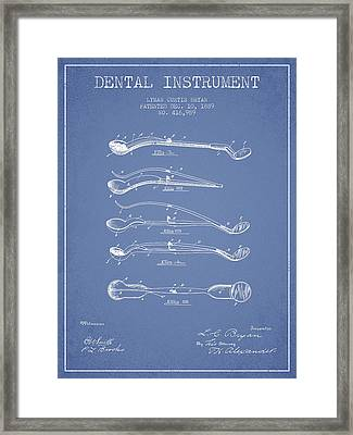 Dental Instrument Patent From 1889 - Light Blue Framed Print by Aged Pixel