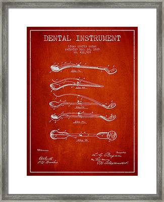 Dental Instrument Patent From 1889 - Red Framed Print