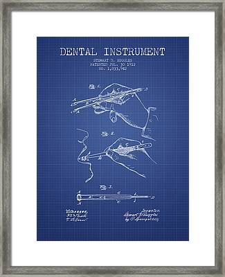 Dental Instrument Patent From 1912 - Blueprint Framed Print by Aged Pixel