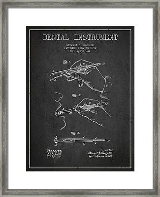 Dental Instrument Patent From 1912 - Dark Framed Print by Aged Pixel