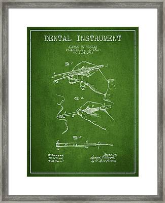 Dental Instrument Patent From 1912 - Green Framed Print by Aged Pixel